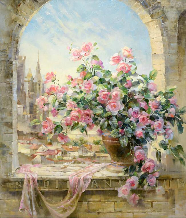 kwiaty róże malowane numerami