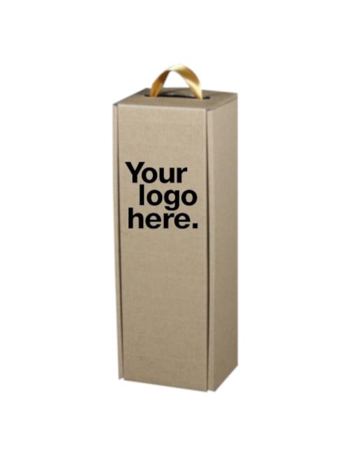 Pudełko eco do wina typ wstążka z grawerem logo