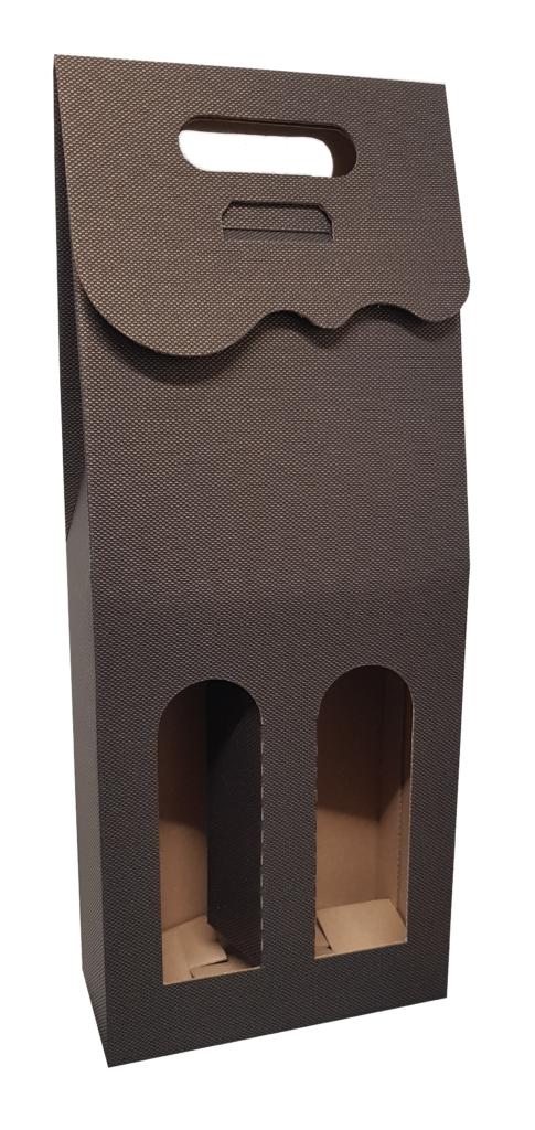 Czarne pudełko ozdobne na 2 butelki wina