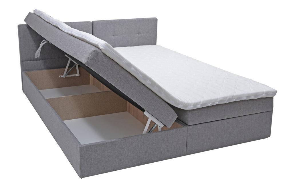 Łóżko tapicerowane z pojemnikiem na pościel