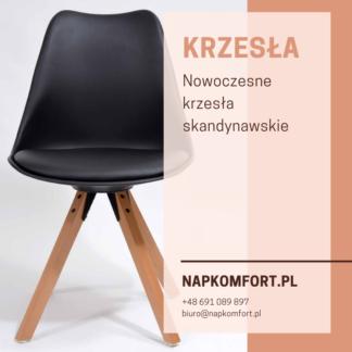 Krzesło styl skandynawski, czarne z poduszką